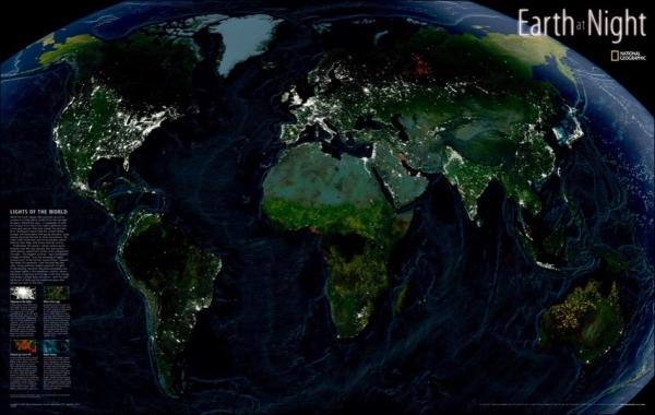 Weltkarte Earth at Night beidseitig laminiert